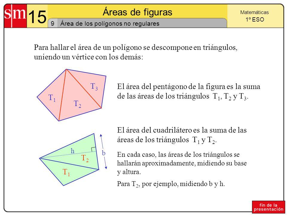 15 Áreas de figuras 8 Matemáticas 1º ESO Área del trapecio Partiendo del trapecio EHGF, dibujamos el paralelogramo EPRF.