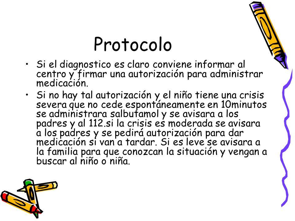 Protocolo Si el diagnostico es claro conviene informar al centro y firmar una autorización para administrar medicación.