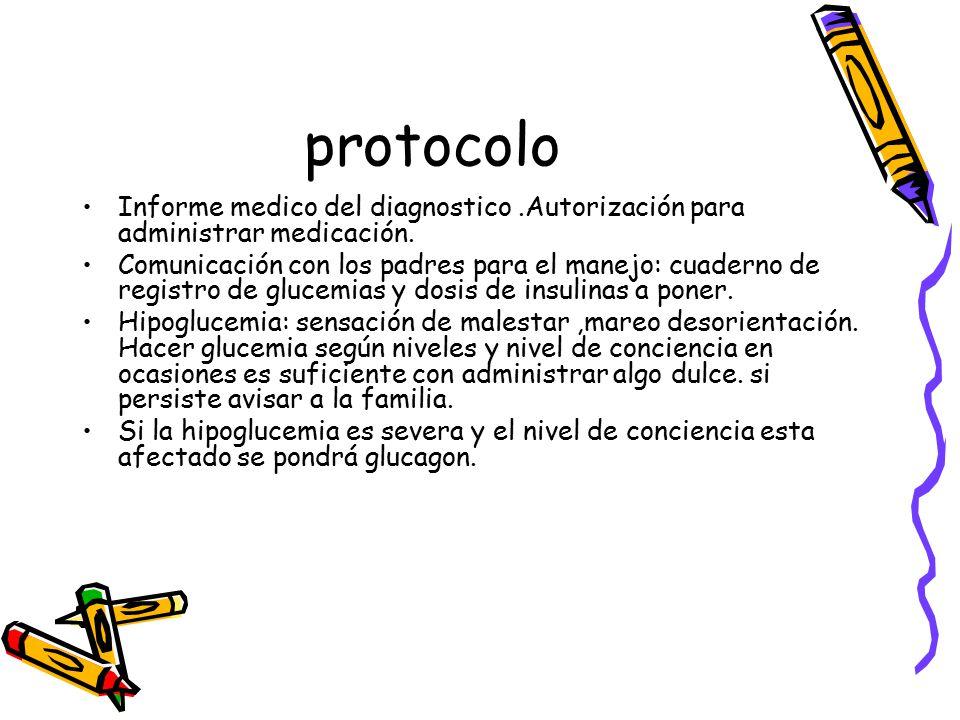 protocolo Informe medico del diagnostico.Autorización para administrar medicación.