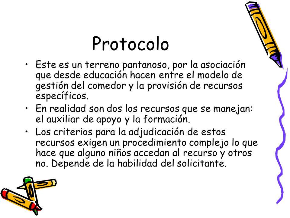 Protocolo Este es un terreno pantanoso, por la asociación que desde educación hacen entre el modelo de gestión del comedor y la provisión de recursos específicos.