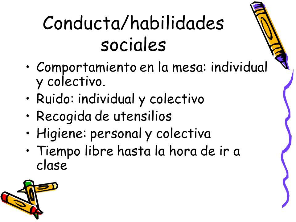 Conducta/habilidades sociales Comportamiento en la mesa: individual y colectivo.