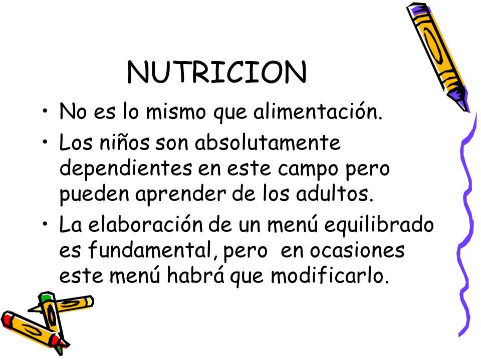 NUTRICION No es lo mismo que alimentación.