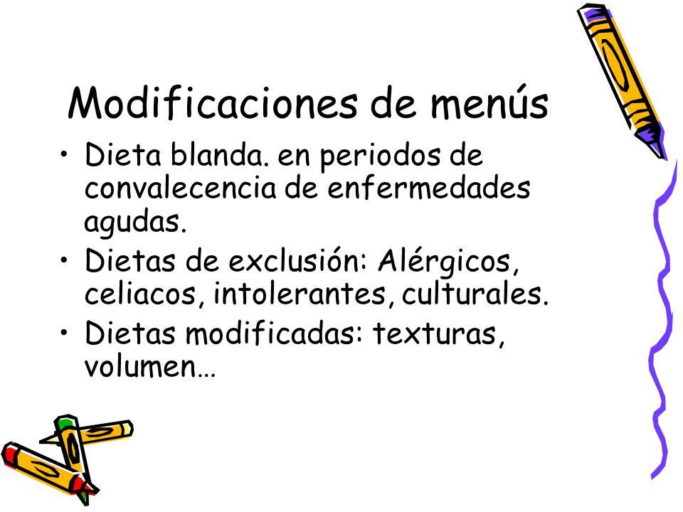 Modificaciones de menús Dieta blanda.en periodos de convalecencia de enfermedades agudas.