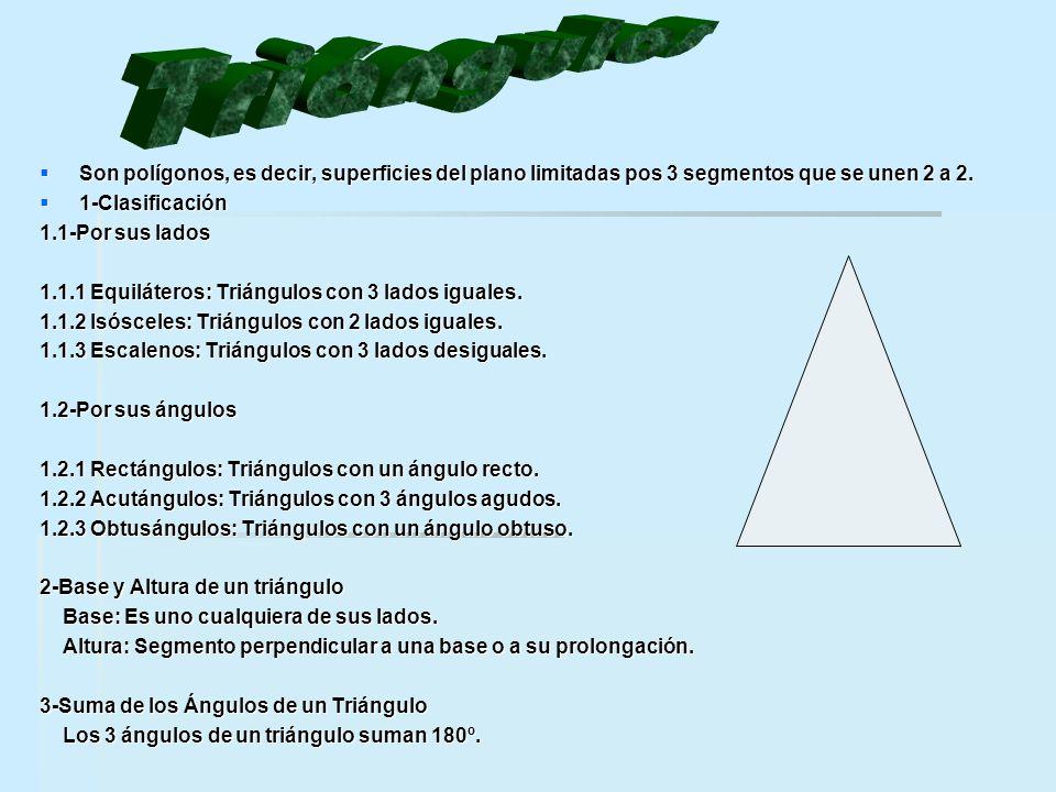  Son polígonos, es decir, superficies del plano limitadas pos 3 segmentos que se unen 2 a 2.