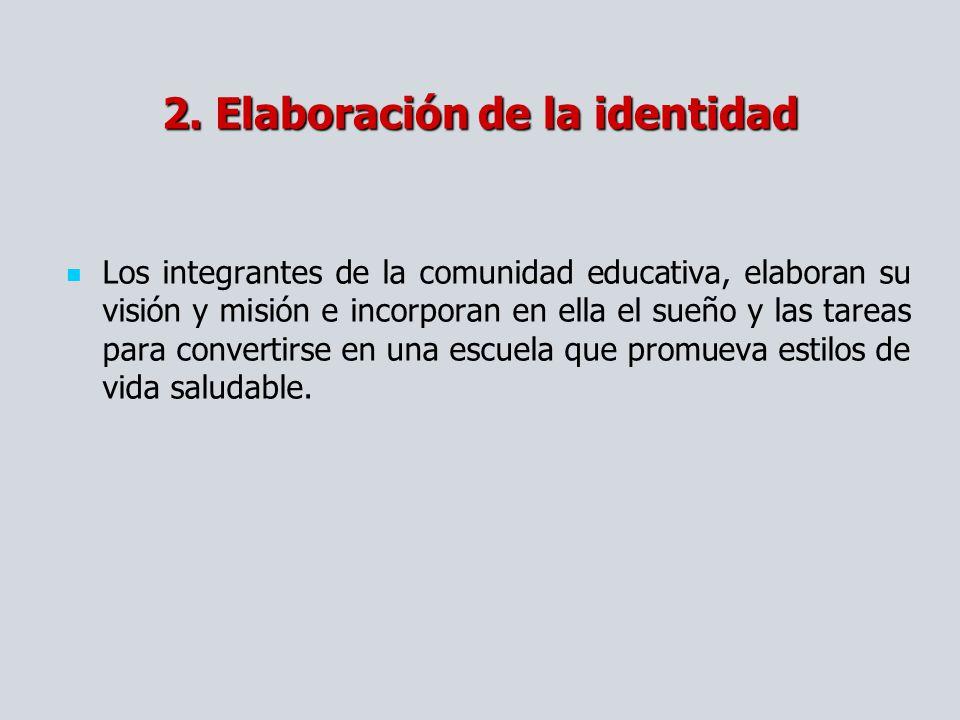 2. Elaboración de la identidad Los integrantes de la comunidad educativa, elaboran su visión y misión e incorporan en ella el sueño y las tareas para