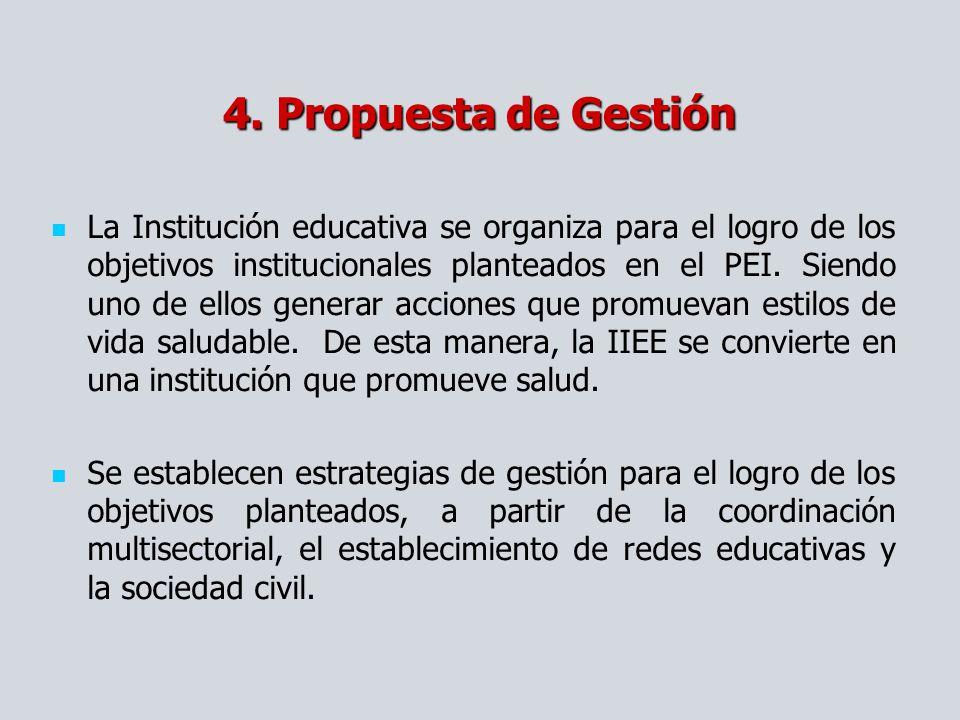 4. Propuesta de Gestión La Institución educativa se organiza para el logro de los objetivos institucionales planteados en el PEI. Siendo uno de ellos