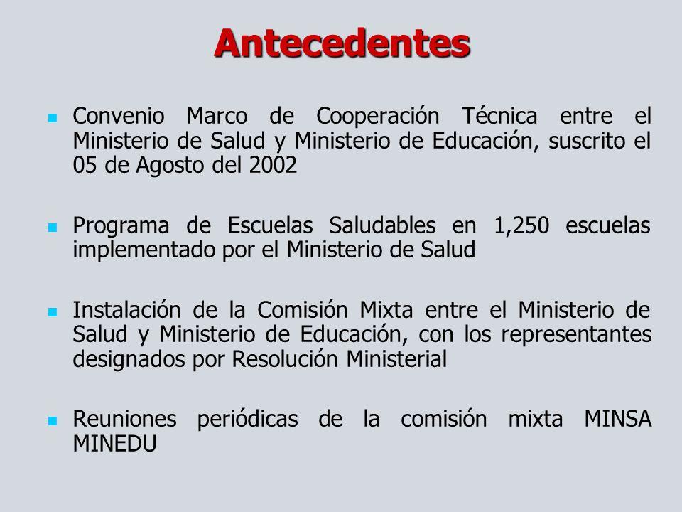 Convenio Marco de Cooperación Técnica entre el Ministerio de Salud y Ministerio de Educación, suscrito el 05 de Agosto del 2002 Programa de Escuelas S