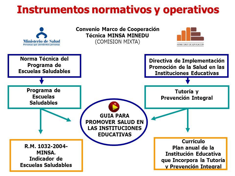 Instrumentos normativos y operativos Convenio Marco de Cooperación Técnica MINSA MINEDU (COMISION MIXTA) Norma Técnica del Programa de Escuelas Saluda