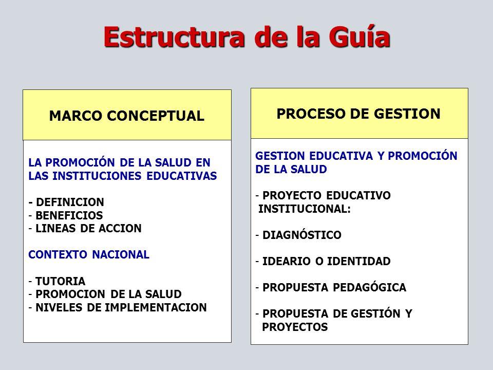 MARCO CONCEPTUAL LA PROMOCIÓN DE LA SALUD EN LAS INSTITUCIONES EDUCATIVAS - DEFINICION - BENEFICIOS - LINEAS DE ACCION CONTEXTO NACIONAL - TUTORIA - P
