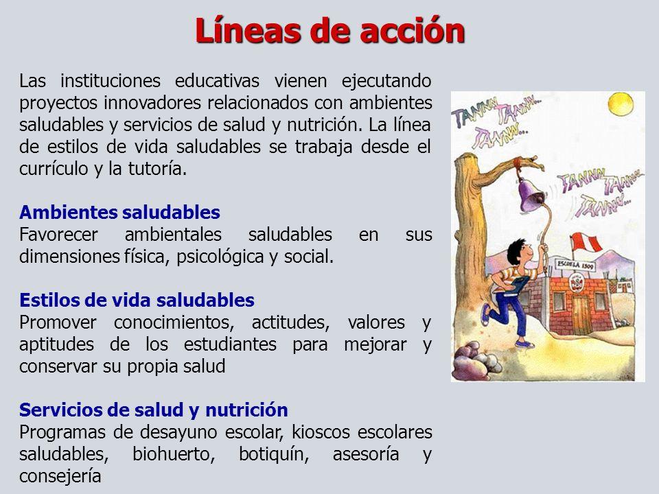 Líneas de acción Las instituciones educativas vienen ejecutando proyectos innovadores relacionados con ambientes saludables y servicios de salud y nut