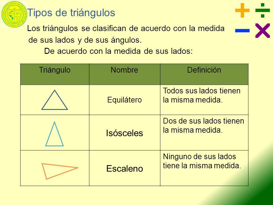 Tipos de triángulos Los triángulos se clasifican de acuerdo con la medida de sus lados y de sus ángulos. De acuerdo con la medida de sus lados: Triáng