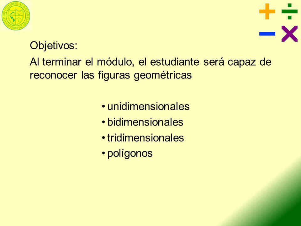 Objetivos: Al terminar el módulo, el estudiante será capaz de reconocer las figuras geométricas unidimensionales bidimensionales tridimensionales polí