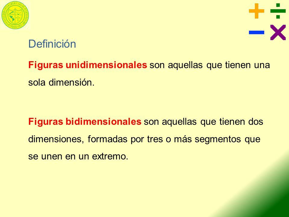 Definición Figuras unidimensionales son aquellas que tienen una sola dimensión. Figuras bidimensionales son aquellas que tienen dos dimensiones, forma