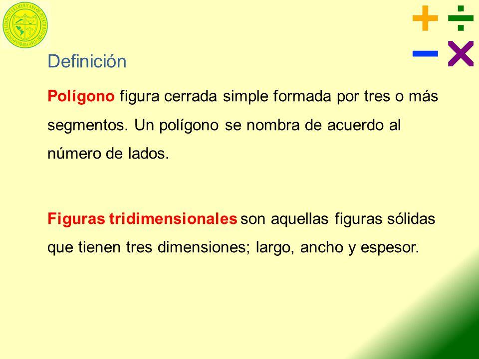 Definición Polígono figura cerrada simple formada por tres o más segmentos. Un polígono se nombra de acuerdo al número de lados. Figuras tridimensiona