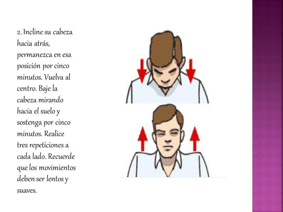 2.Incline su cabeza hacia atrás, permanezca en esa posición por cinco minutos.