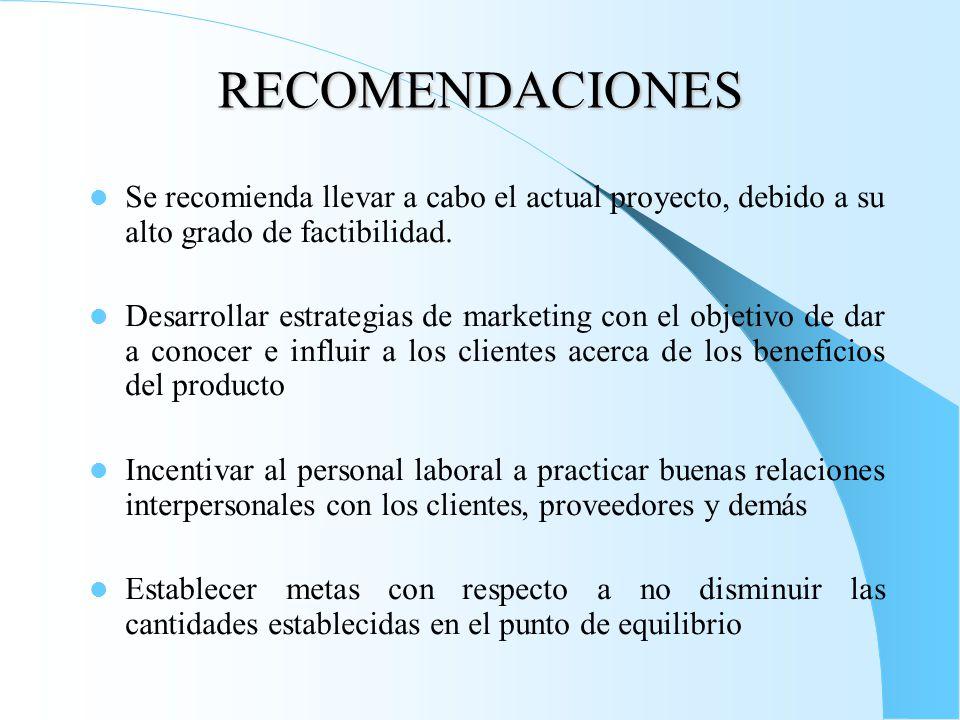RECOMENDACIONES Se recomienda llevar a cabo el actual proyecto, debido a su alto grado de factibilidad.