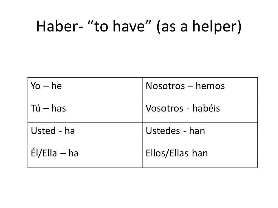 Haber- to have (as a helper) Yo – heNosotros – hemos Tú – hasVosotros - habéis Usted - haUstedes - han Él/Ella – haEllos/Ellas han
