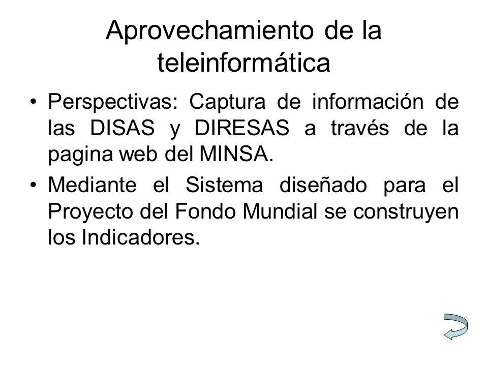 Aprovechamiento de la teleinformática Perspectivas: Captura de información de las DISAS y DIRESAS a través de la pagina web del MINSA. Mediante el Sis