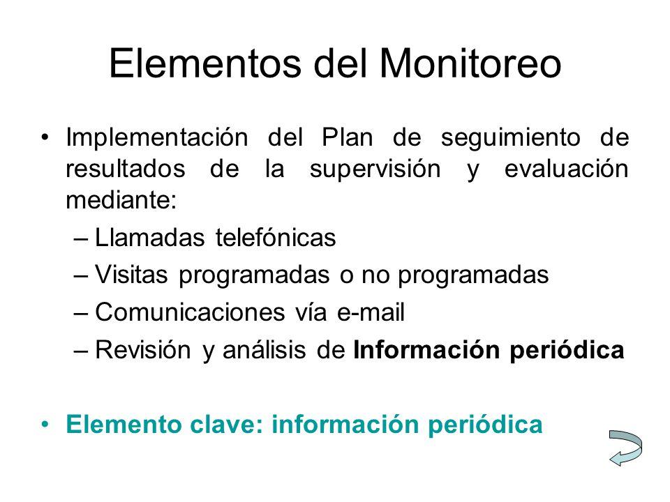 Elementos del Monitoreo Implementación del Plan de seguimiento de resultados de la supervisión y evaluación mediante: –Llamadas telefónicas –Visitas programadas o no programadas –Comunicaciones vía e-mail –Revisión y análisis de Información periódica Elemento clave: información periódica