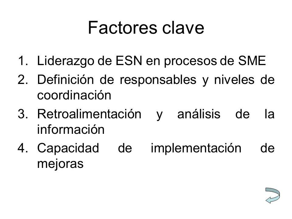 1.Liderazgo de ESN en procesos de SME 2.Definición de responsables y niveles de coordinación 3.Retroalimentación y análisis de la información 4.Capaci