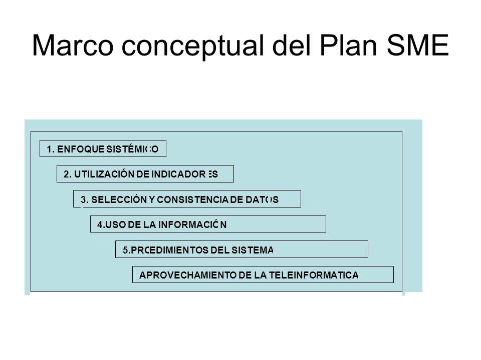 Marco conceptual del Plan SME 1. ENFOQUE SISTÉMICO 2. UTILIZACIÓN DE INDICADORES 3. SELECCIÓN Y CONSISTENCIA DE DATOS 4.USO DE LA INFORMACIÓN 5.PROCED