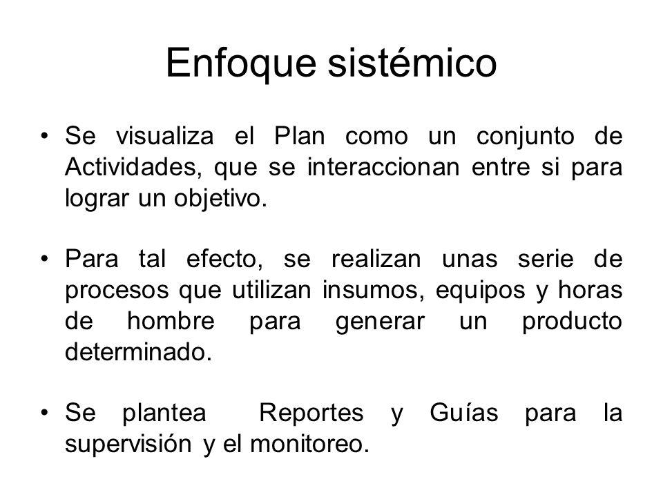 Enfoque sistémico Se visualiza el Plan como un conjunto de Actividades, que se interaccionan entre si para lograr un objetivo. Para tal efecto, se rea