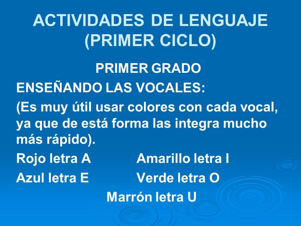 ACTIVIDADES DE LENGUAJE (PRIMER CICLO) PRIMER GRADO ENSEÑANDO LAS VOCALES: (Es muy útil usar colores con cada vocal, ya que de está forma las integra mucho más rápido).