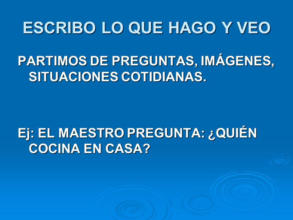 ESCRIBO LO QUE HAGO Y VEO PARTIMOS DE PREGUNTAS, IMÁGENES, SITUACIONES COTIDIANAS.