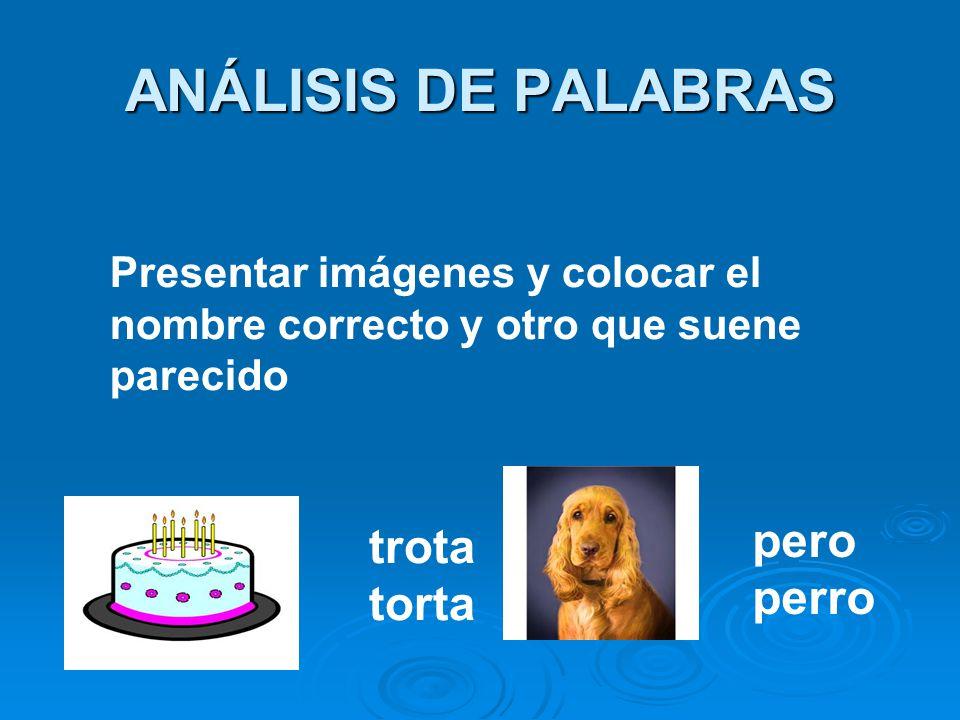 ANÁLISIS DE PALABRAS Presentar imágenes y colocar el nombre correcto y otro que suene parecido trota torta pero perro