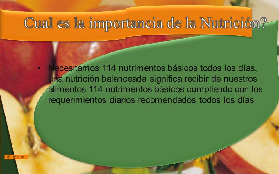Necesitamos 114 nutrimentos básicos todos los días, una nutrición balanceada significa recibir de nuestros alimentos 114 nutrimentos básicos cumpliendo con los requerimientos diarios recomendados todos los días