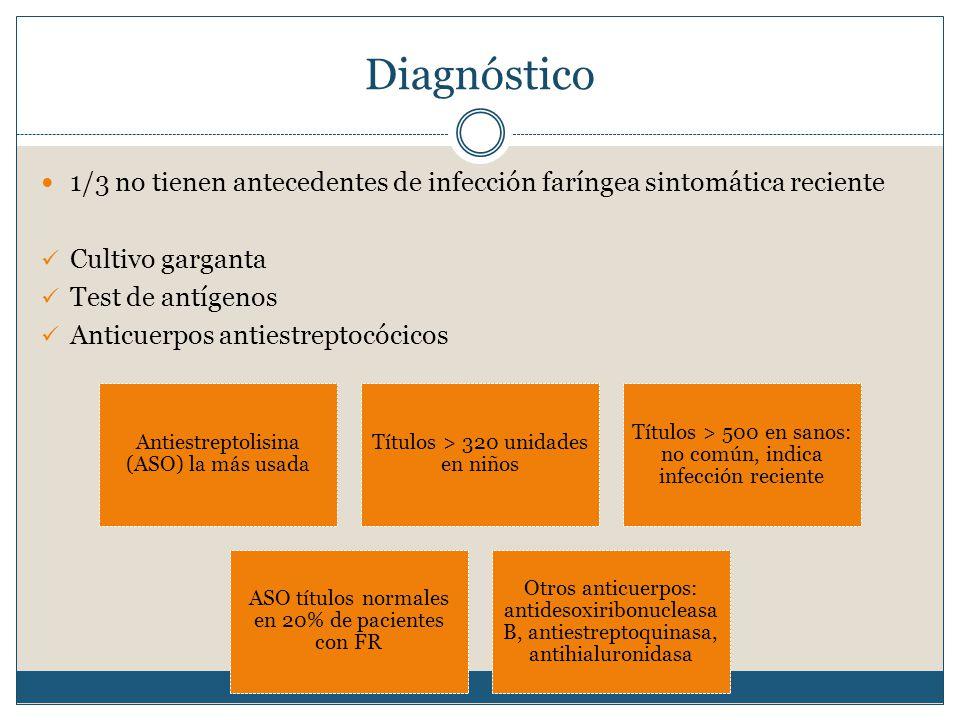 Diagnóstico 1/3 no tienen antecedentes de infección faríngea sintomática reciente Cultivo garganta Test de antígenos Anticuerpos antiestreptocócicos Antiestreptolisina (ASO) la más usada Títulos > 320 unidades en niños Títulos > 500 en sanos: no común, indica infección reciente ASO títulos normales en 20% de pacientes con FR Otros anticuerpos: antidesoxiribonucleasa B, antiestreptoquinasa, antihialuronidasa