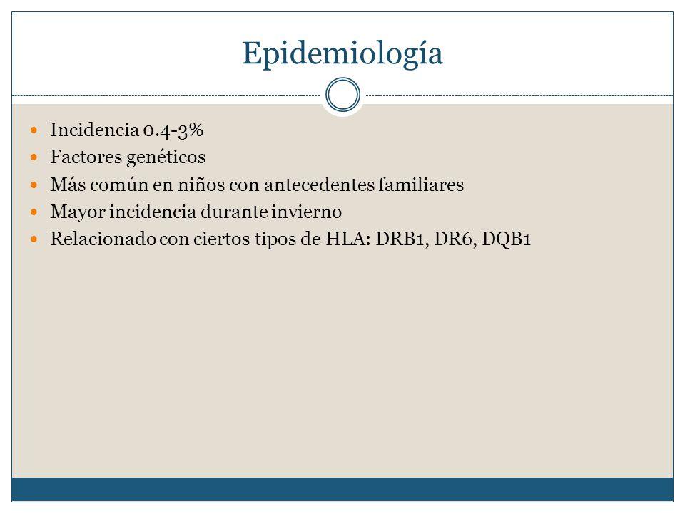 Epidemiología Incidencia 0.4-3% Factores genéticos Más común en niños con antecedentes familiares Mayor incidencia durante invierno Relacionado con ciertos tipos de HLA: DRB1, DR6, DQB1