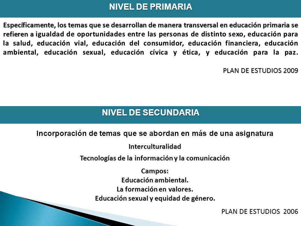 NIVEL DE PRIMARIA Incorporación de temas que se abordan en más de una asignaturaInterculturalidad Tecnologías de la información y la comunicación Campos: Educación ambiental.