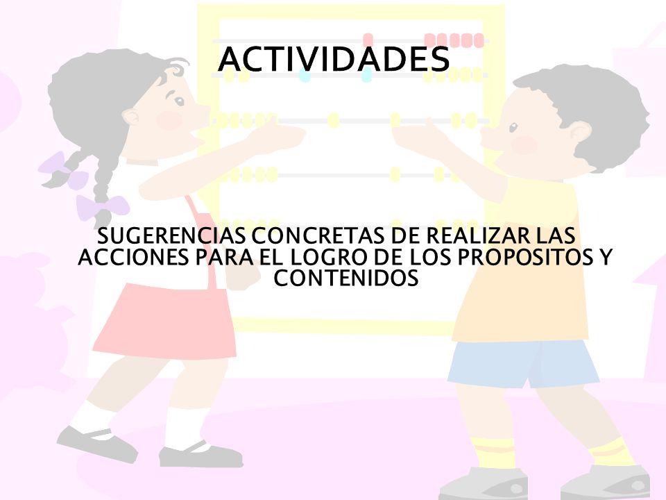 SUGERENCIAS CONCRETAS DE REALIZAR LAS ACCIONES PARA EL LOGRO DE LOS PROPOSITOS Y CONTENIDOS