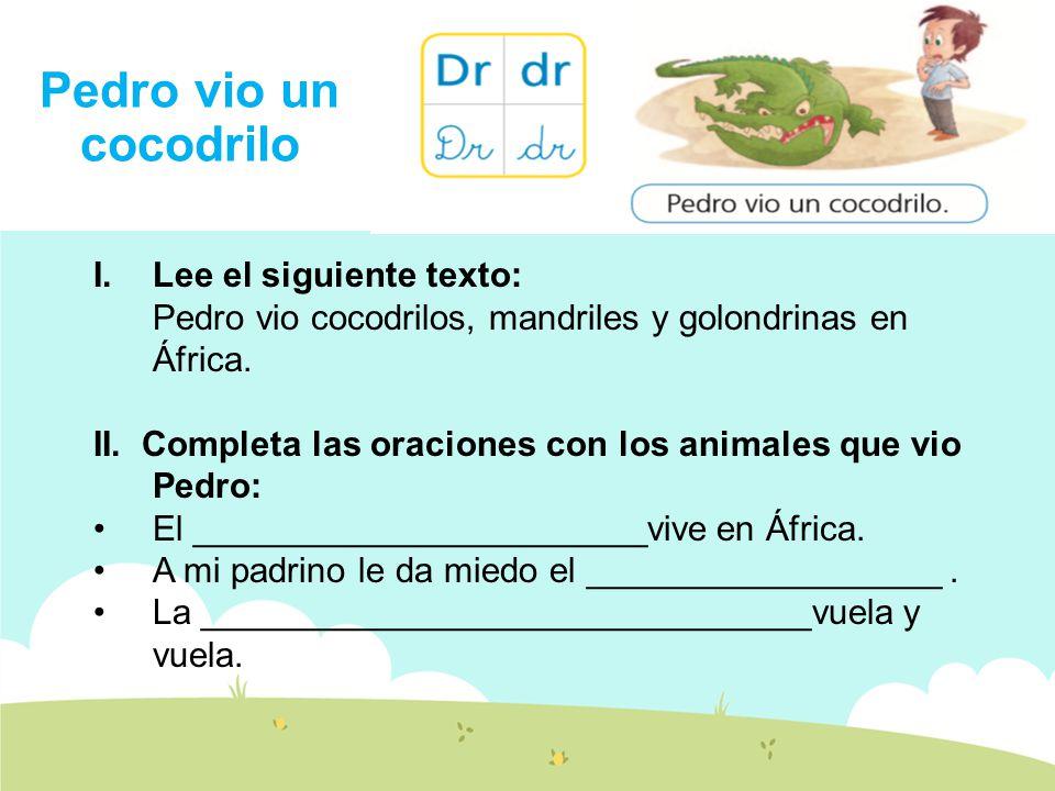 Pedro vio un cocodrilo I.Lee el siguiente texto: Pedro vio cocodrilos, mandriles y golondrinas en África.