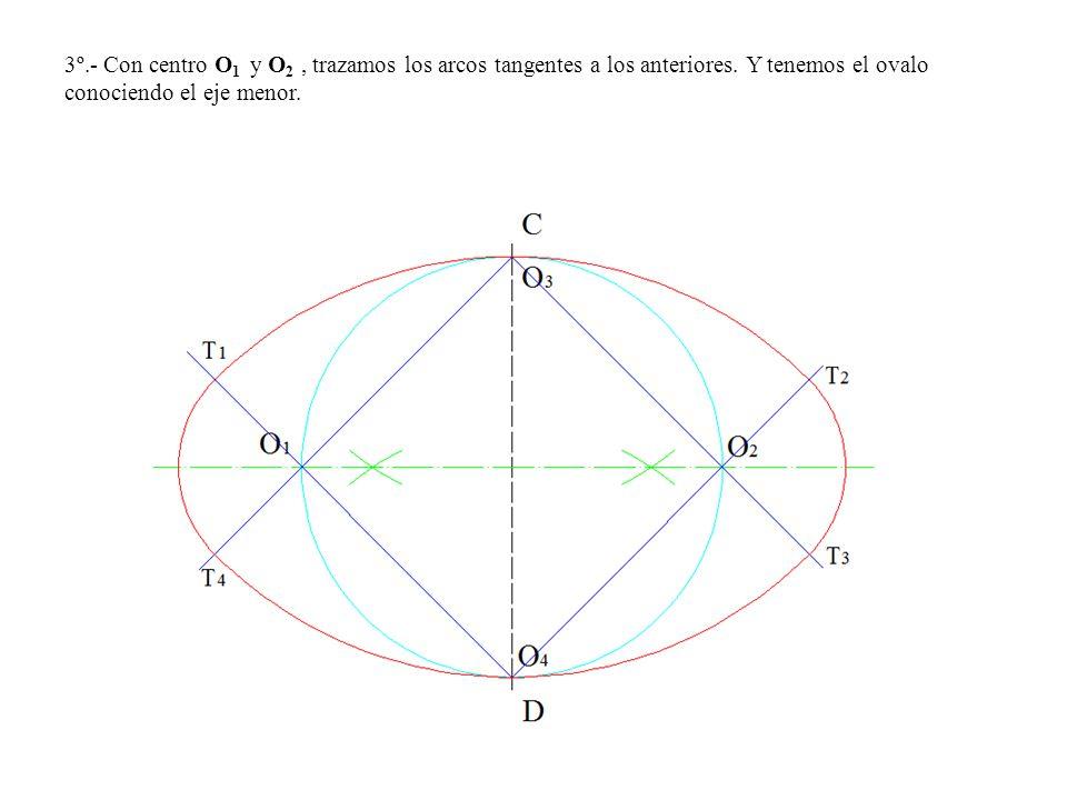 3º.- Con centro O 1 y O 2, trazamos los arcos tangentes a los anteriores.