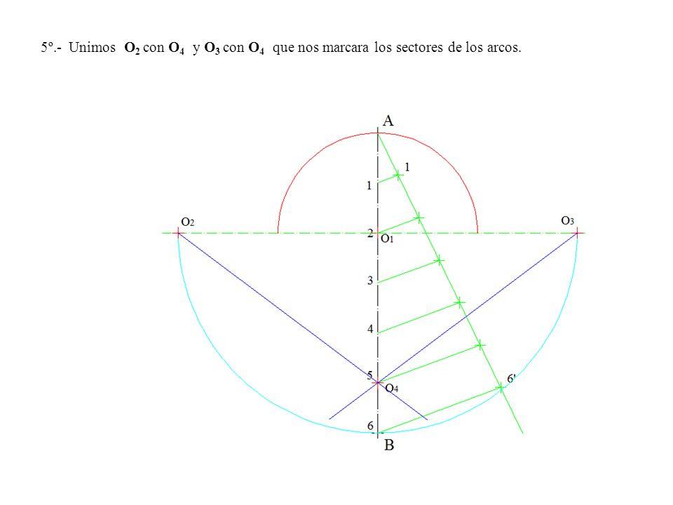 5º.- Unimos O 2 con O 4 y O 3 con O 4 que nos marcara los sectores de los arcos.