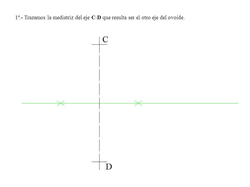 1º.- Trazamos la mediatriz del eje C-D que resulta ser el otro eje del ovoide.