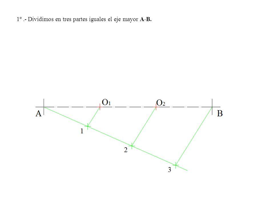 1º.- Dividimos en tres partes iguales el eje mayor A-B.
