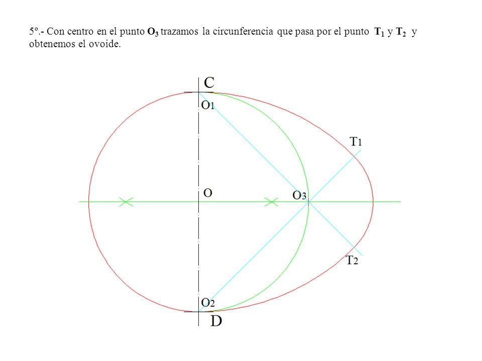 5º.- Con centro en el punto O 3 trazamos la circunferencia que pasa por el punto T 1 y T 2 y obtenemos el ovoide.