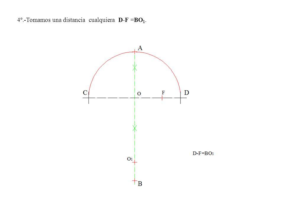4º.-Tomamos una distancia cualquiera D-F =BO 1.