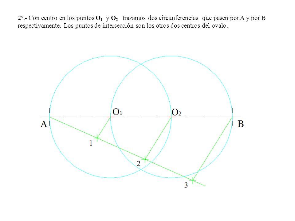 2º.- Con centro en los puntos O 1 y O 2 trazamos dos circunferencias que pasen por A y por B respectivamente.