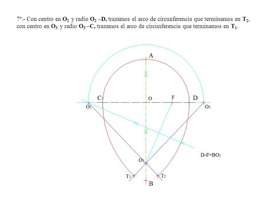 7º.- Con centro en O 2 y radio O 2 –D, trazamos el arco de circunferencia que terminamos en T 2, con centro en O 3 y radio O 3 –C, trazamos el arco de circunferencia que terminamos en T 1.