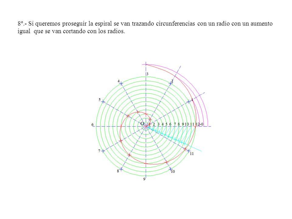8º.- Si queremos proseguir la espiral se van trazando circunferencias con un radio con un aumento igual que se van cortando con los radios.