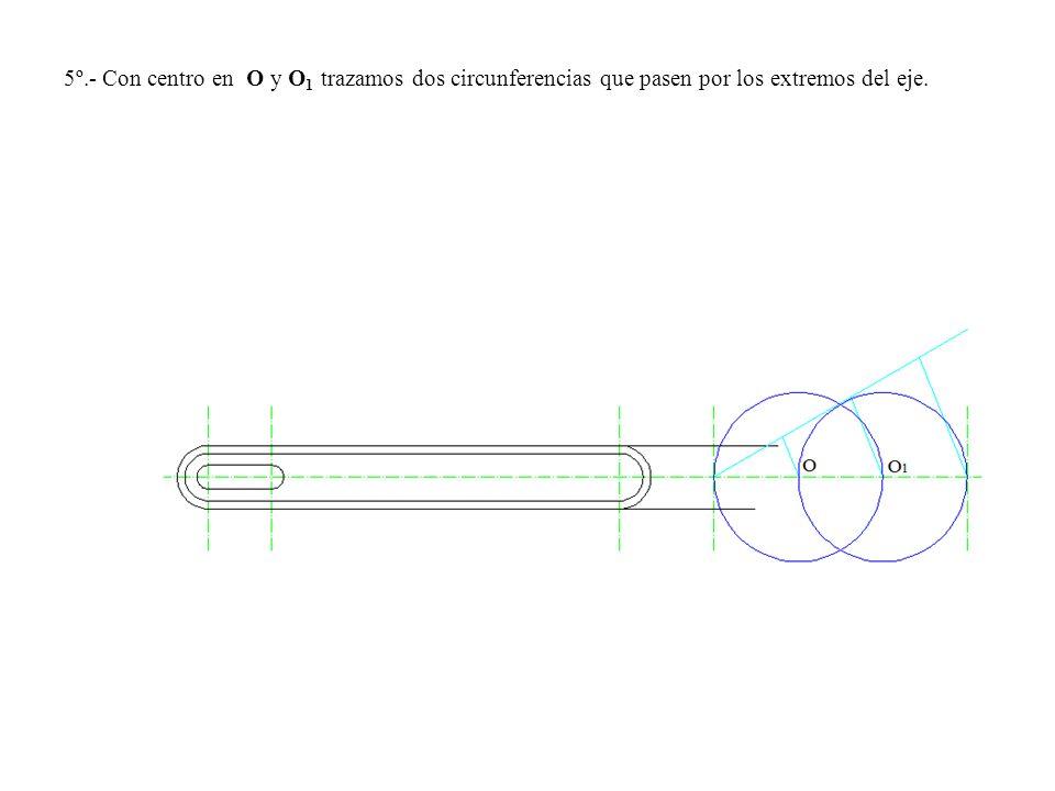 5º.- Con centro en O y O 1 trazamos dos circunferencias que pasen por los extremos del eje.