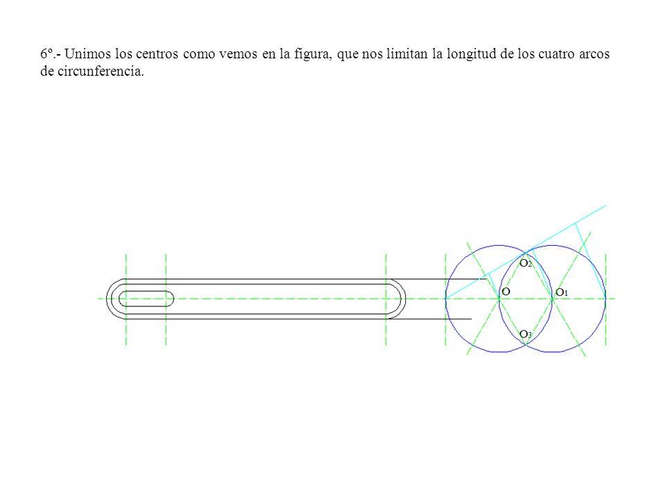 6º.- Unimos los centros como vemos en la figura, que nos limitan la longitud de los cuatro arcos de circunferencia.