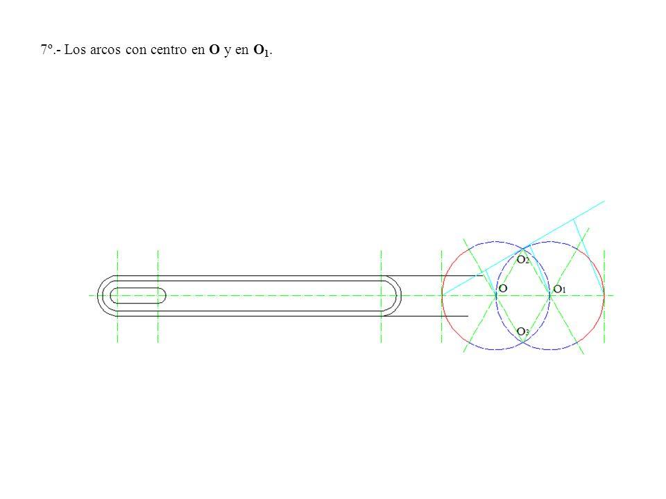7º.- Los arcos con centro en O y en O 1.