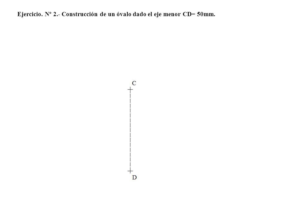 5º.- Hacemos centro en el vértice 3 y con radio 3-6= 3 lados=24 mm, trazamos una circunferencia.