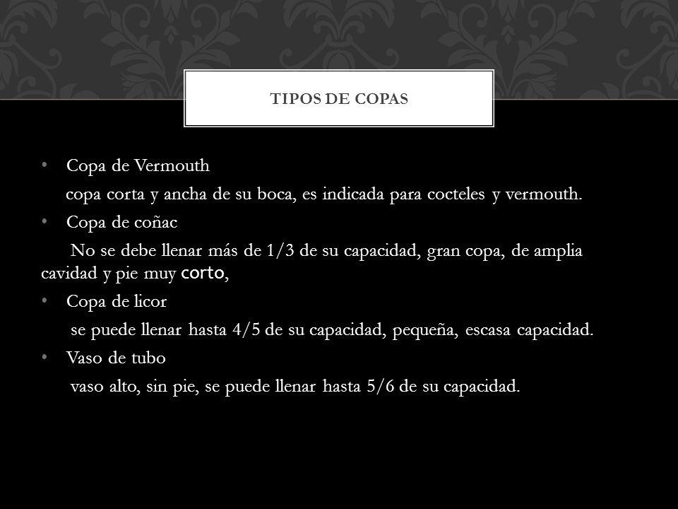 Copa de Vermouth copa corta y ancha de su boca, es indicada para cocteles y vermouth.