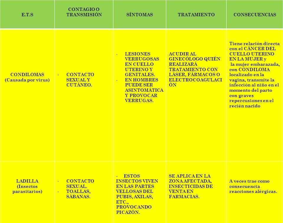 E.T.S CONTAGIO O TRANSMISIÓNSÍNTOMASTRATAMIENTOCONSECUENCIAS HEPATITIS B ( Infección del Hígado por virus, alcohol o medicamentos) - CONTACTO DE HERIDAS - INGESTIÓN A TRAVÉS DE LA PLACENTA DE LA MADRE - RELACIONES CON LA PERSONA INFECTADA.
